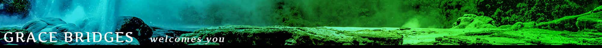 Grace           Bridges welcomes you (page header image of a geyser           landscape)